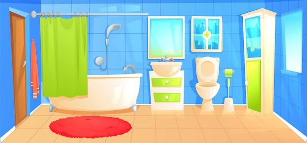 Bathroom design interior room with ceramic furniture background template. Free Vector