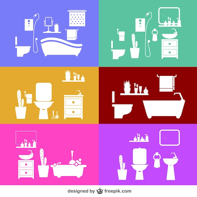 Bathroom Designs In Different Colors Vector Free Download