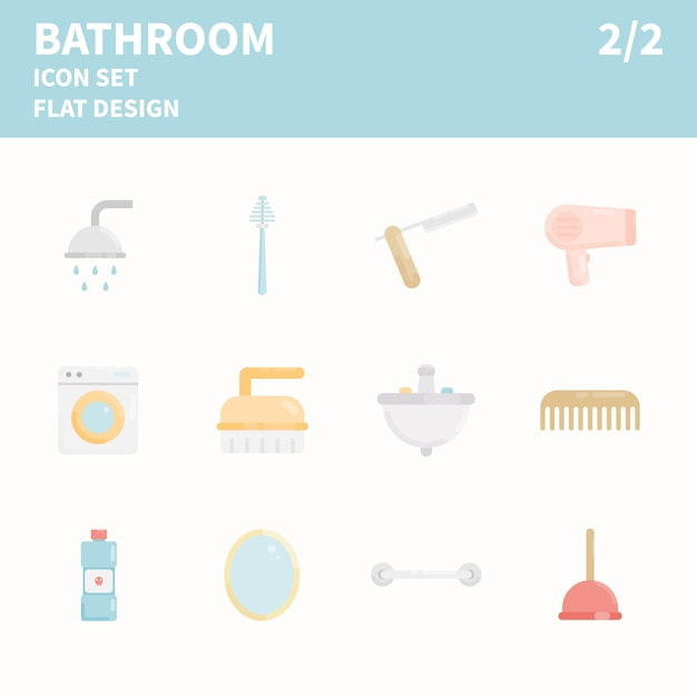 Bathroom element icon set Premium Vector