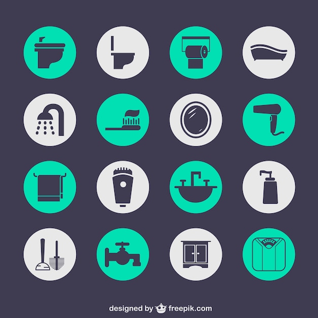 Bathroom elements icons Free Vector