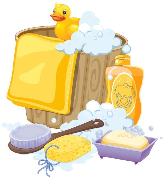 Bathroom equipments in yellow color Free Vector