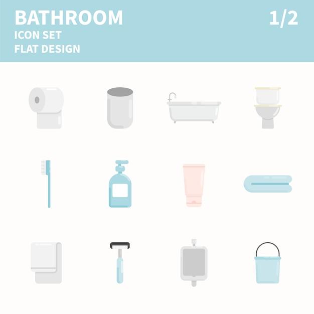 Ванная комната с плоским значок набор Premium векторы
