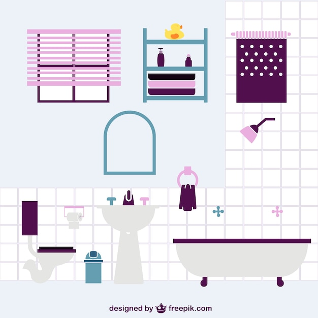 Bathroom flat vector design Vector  Free Download -> Banheiro Feminino Vetor Free