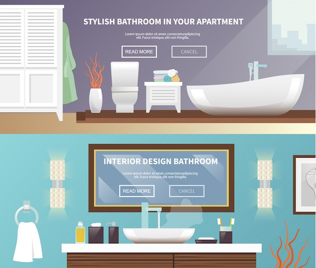 Bathroom furniture banner Free Vector