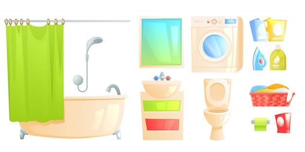 Комплект мебели для ванной комнаты. изолированный туалет и ванна и другие предметы. Бесплатные векторы
