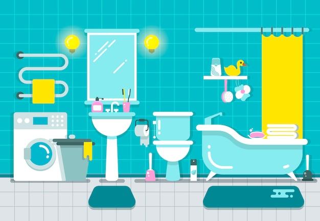 Bathroom home interior with shower, bath and washbasin vector illustration Premium Vector