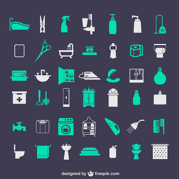 Bathroom icons set Free Vector