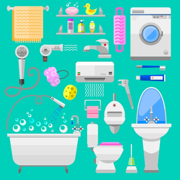 Bathroom icons toilet symbols vector illustration Premium Vector
