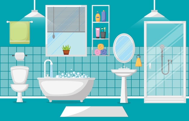 Bathroom interior clean modern room furniture flat design Premium Vector