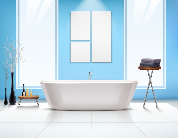 Bathroom interior composition Free Vector