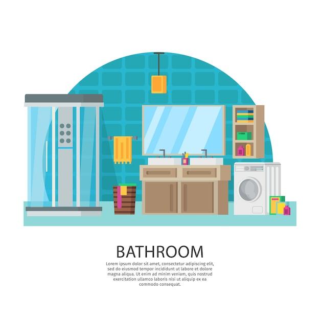 Bathroom interior design composition Free Vector