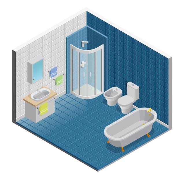 Bathroom interior design Free Vector