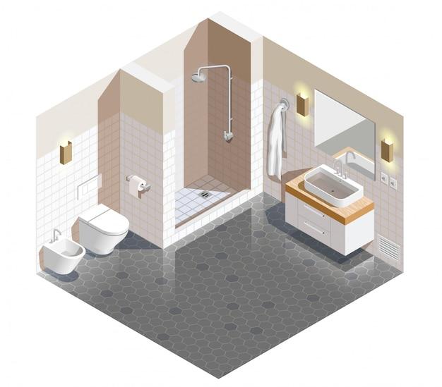 Bagno interno scena isometrica Vettore gratuito