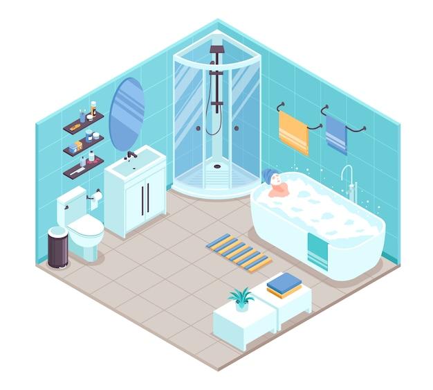 Bathroom interior isometric Free Vector