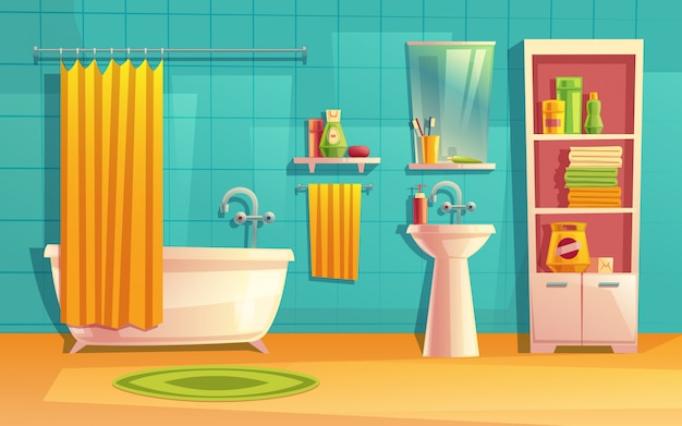 Bathroom interior, room with furniture, bathtub, shelves, mirror, faucet, curtain Free Vector