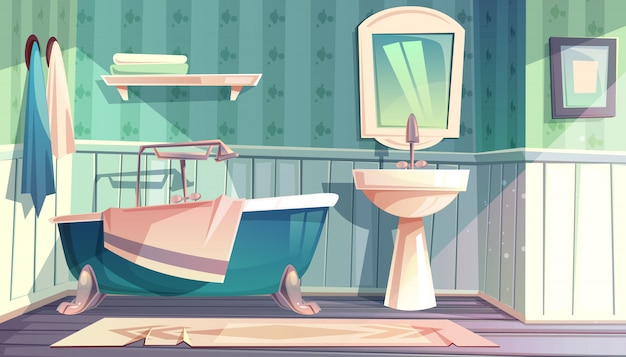 Bathroom interior in vintage french provence style illustration. Free Vector