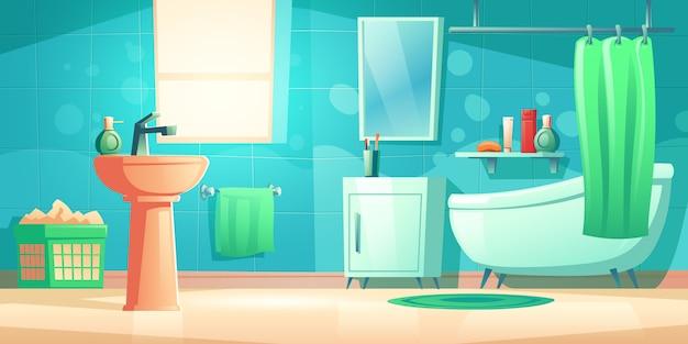 Interno del bagno con vasca, lavandino e specchio Vettore gratuito