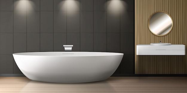 Bathroom interior with bath, sink and round mirror Free Vector