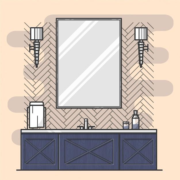 Bathroom interior with big mirror Free Vector