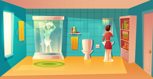 Bathroom interior with couple in morning hygiene. combined room with furniture. man in shower Free Vector
