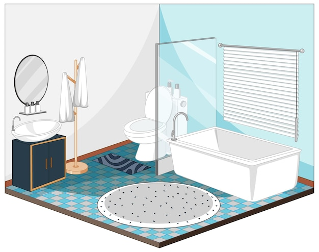Bathroom interior with furniture in blue theme Free Vector