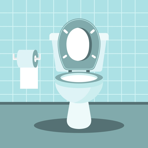 Bathroom interior with toilet bowl and toilet paper Premium Vector