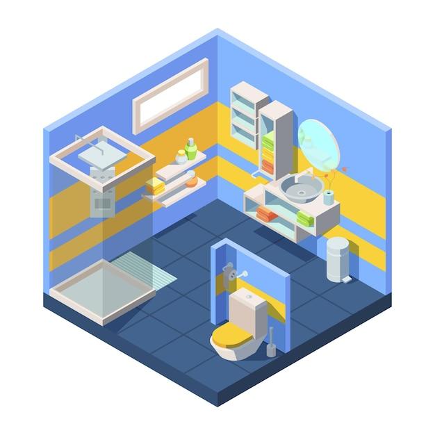 Bathroom isometric illustration Premium Vector