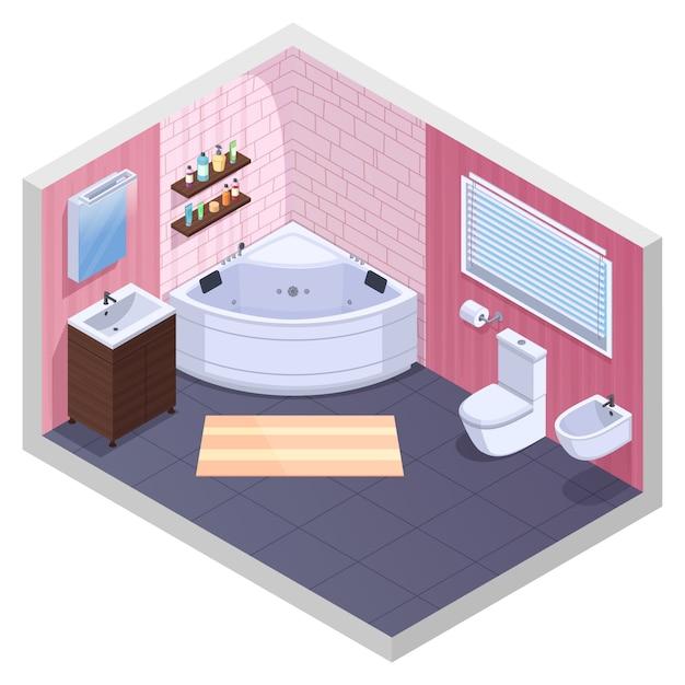 L'interno isometrico del bagno con gli scaffali angolari della vasca con il bacino delle bottiglie del gel e dello sciampo e ciotola di toilette vector l'illustrazione Vettore gratuito