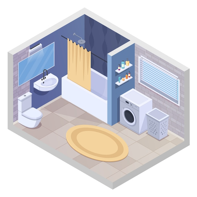 Bathroom isometric interior with realistic sanitary facilities and furniture with washing machine towel dryer and carpet vector illustration Free Vector