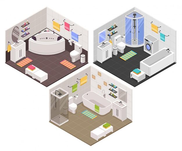 Set da bagno isometrico Vettore gratuito