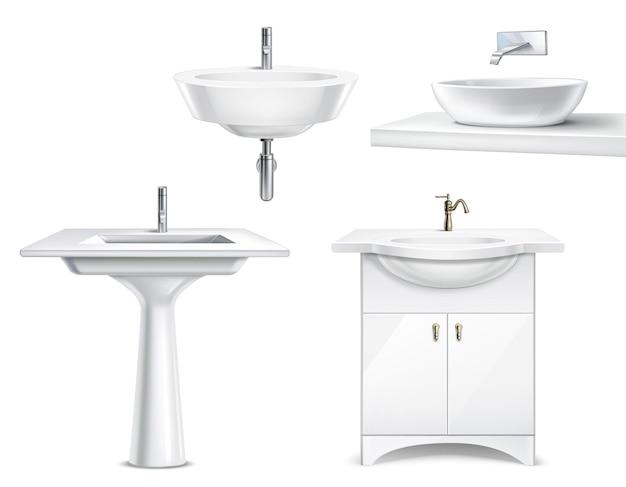 Реалистичная 3d коллекция предметов для ванной с изолированными белыми керамическими элементами для ванной и туалета Бесплатные векторы