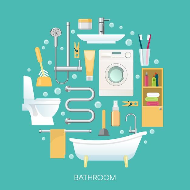 Bathroom round composition Free Vector
