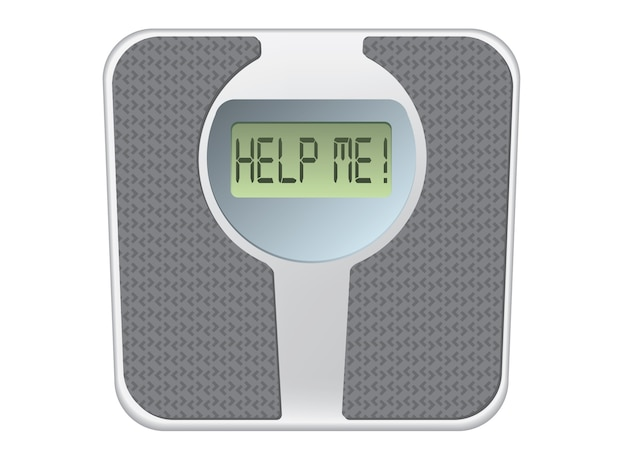 Bathroom scale with the word help me! on the screen Premium Vector