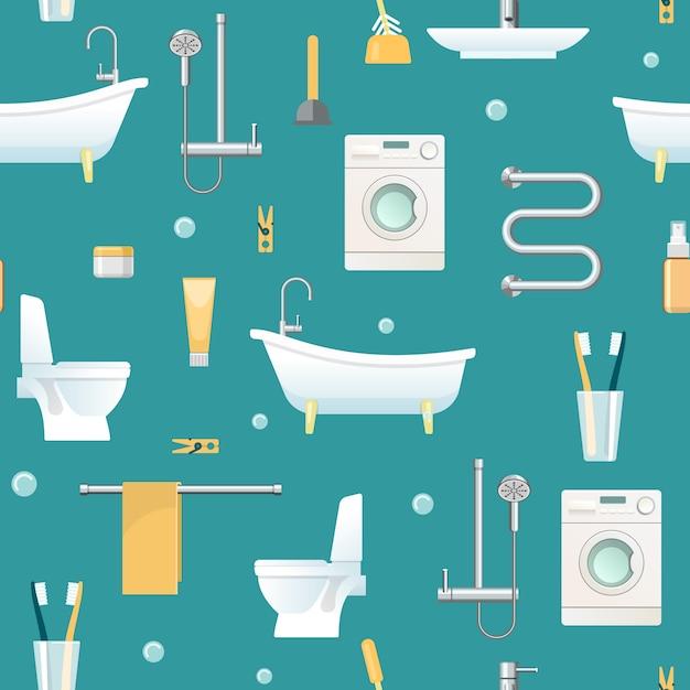 Bathroom seamless pattern Free Vector