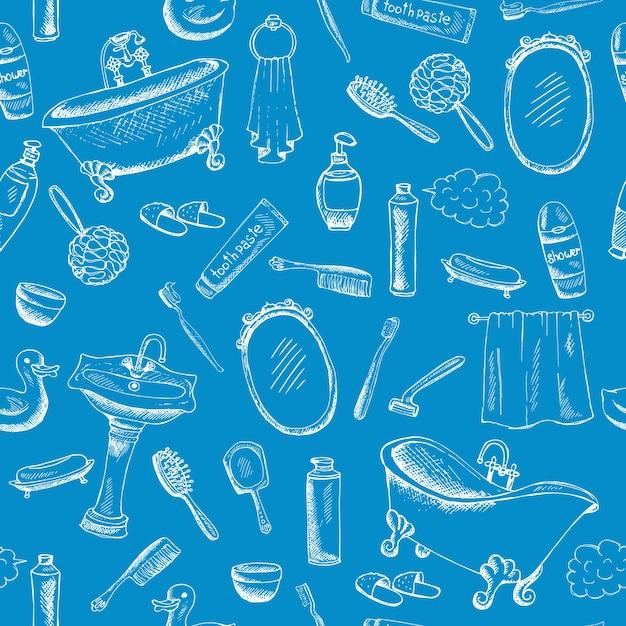 Design a tema bagno su sfondo blu con opere d'arte di asciugamano da bagno in pasta dentifricia e altro ancora. Vettore gratuito