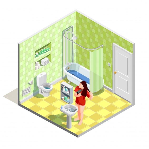 Bathroom tinker isometric composition Free Vector