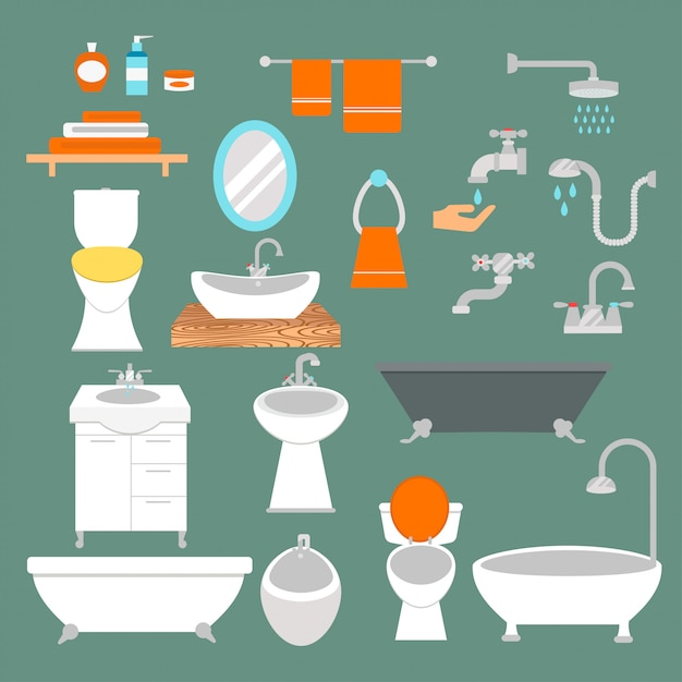 Bathroom and toilet elements flat style vector isolated Premium Vector