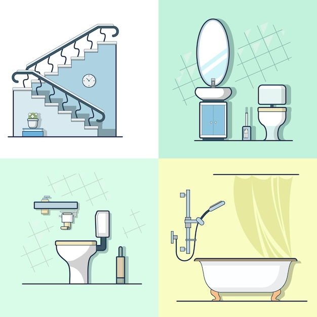 Bathroom toilet ladder interior indoor element furniture set. linear stroke outline    icons. Free Vector