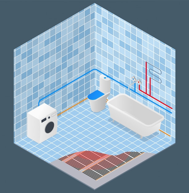 Bathroom water supply and heating scheme isometric Premium Vector