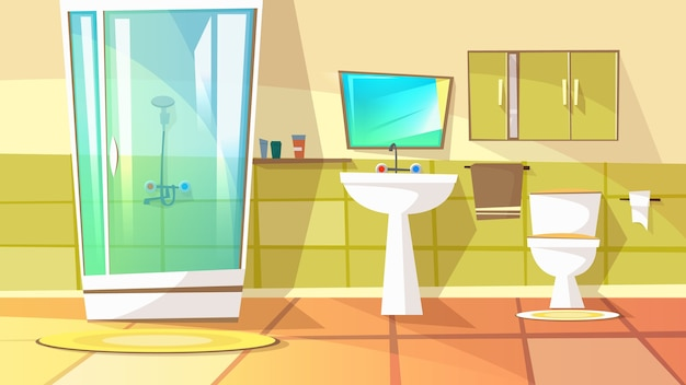 Bathroom with stall shower illustration of home interior. domestic toilet Free Vector