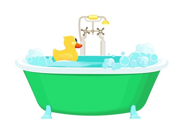 バスルームの黄色いアヒル。ゴム製のアヒルのシャワーのベクトル画像漫画の背景と水の泡の泡をリラックスします。泡の黄色いアヒルとイラストのバスルーム Premiumベクター