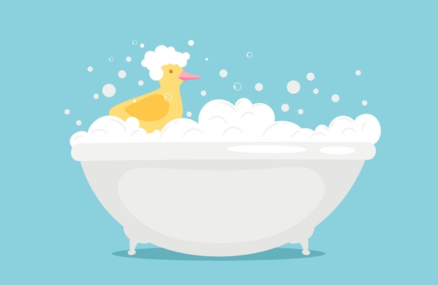 Bathtime  illustration with soap foam and yellow rubber duck Premium Vector