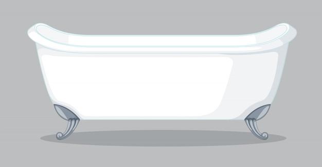 A bathtub on grey background Free Vector