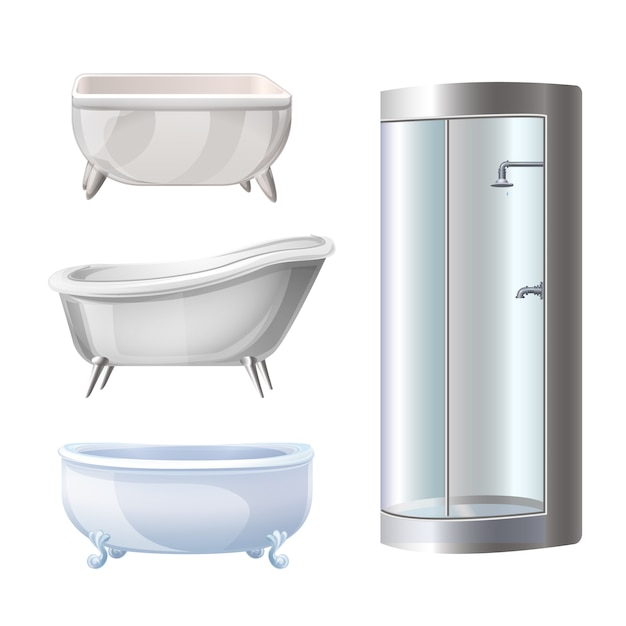 Bathtub icons set Premium Vector