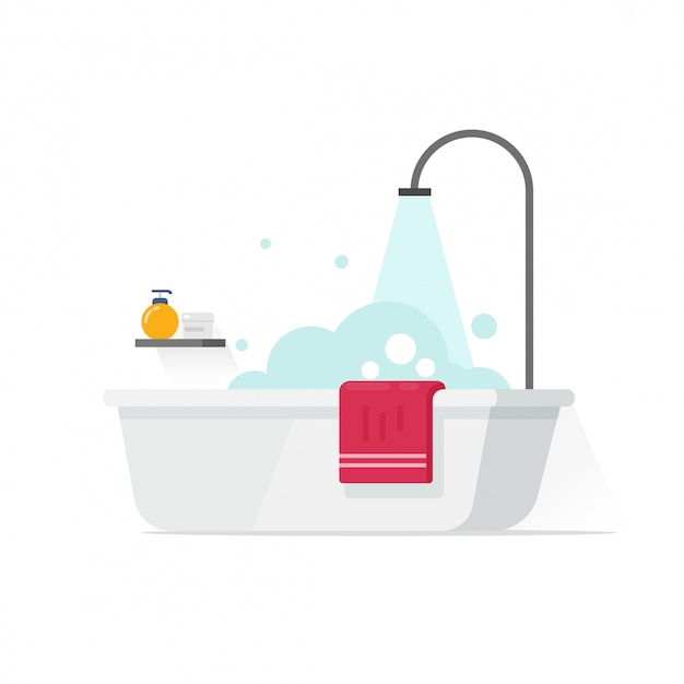 Bathtub with foam bubbles and shower illustration isolated on white in flat cartoon style Premium Vector