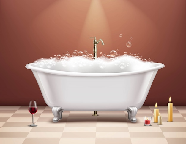 Bathtub with foam composition Free Vector
