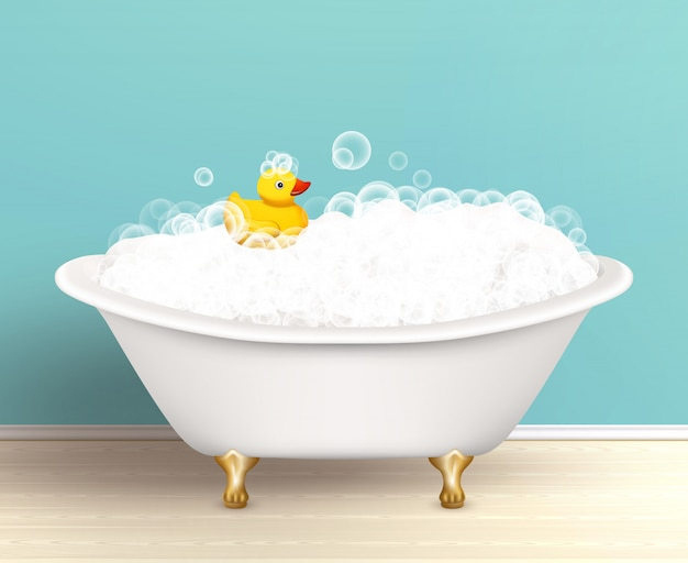 Bathtub with foam poster Free Vector