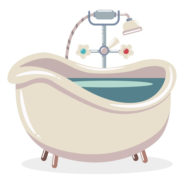 Bathtub with water and shower.  cartoon flat illustration of a vintage bath isolated . Premium Vector