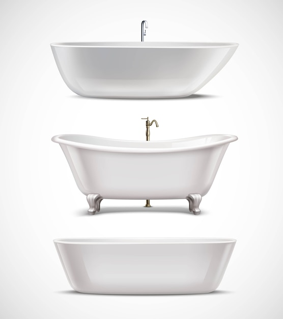 Bathtubs realistic set Free Vector