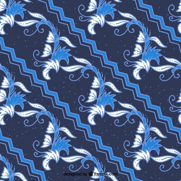 Batik Blue Floral Background